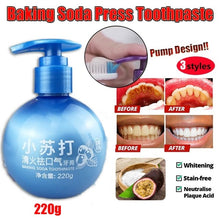 Load image into Gallery viewer, 220g Newest Baking Soda Toothpaste Stain Removal Whitening Toothpaste Fight Bleeding Gums Toothpaste Cleaning Hygiene Oral Care Passion Fruit Dental Toothpaste White Teeth