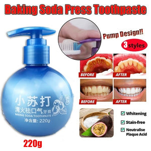 220g Newest Baking Soda Toothpaste Stain Removal Whitening Toothpaste Fight Bleeding Gums Toothpaste Cleaning Hygiene Oral Care Passion Fruit Dental Toothpaste White Teeth