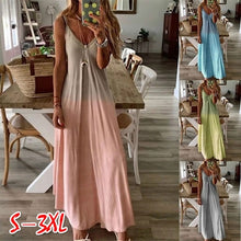 Load image into Gallery viewer, Women's Fashion Sleeveless V-neck Dress Casual Color-block Dress Gradient Dress Tank Dress
