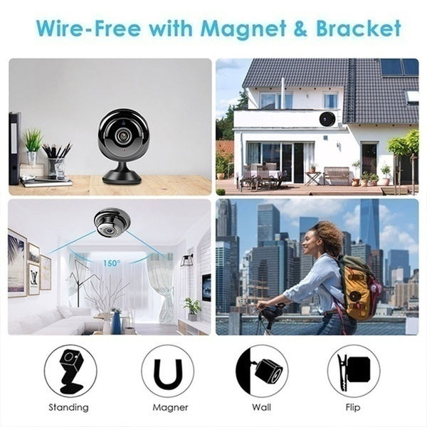 HD 1080P Wireless Mini Camera Wall Wifi Video Security Camera