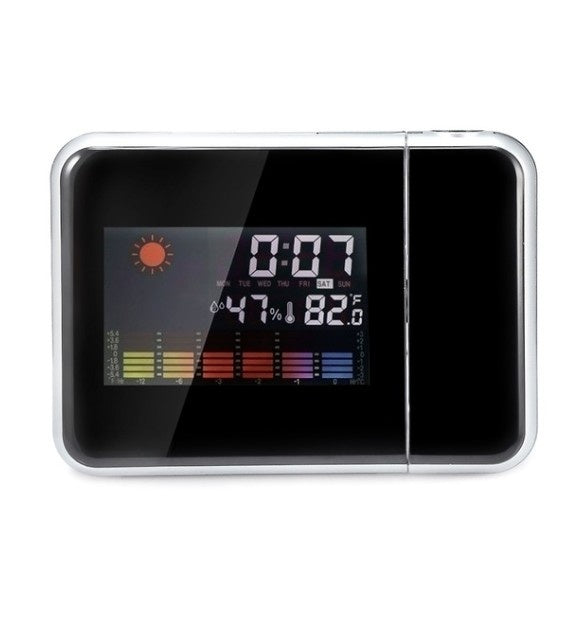 Multifunction Clock Dreamy Colorful Projection Clock Home Alarm Clock Voice Talking Alarm Clock LCD Display with Electronic Thermometer Time Wall Ceiling Projection Function