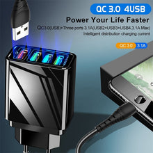 Load image into Gallery viewer, 48W Quick Charger 3.0 4 Port USB Charger for Samsung iPhone Huawei Tablet QC 3.0 Fast Wall Charger US/EU Plug Adapter