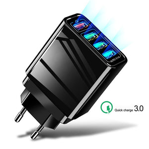 48W Quick Charger 3.0 4 Port USB Charger for Samsung iPhone Huawei Tablet QC 3.0 Fast Wall Charger US/EU Plug Adapter