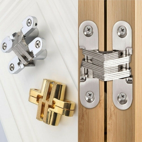 1 Pair Invisible Cross Hinge Hidden Concealed Door Cabinet Cupboard Wooden Boxes