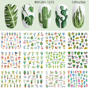 12 Designs Summer Nail Water Transfer Stickers Cactus Flamingo Heart Leaf Tattoo Decals Nail Art Decoration