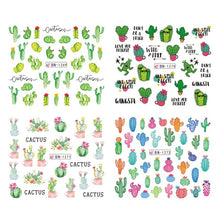 Load image into Gallery viewer, 12 Designs Summer Nail Water Transfer Stickers Cactus Flamingo Heart Leaf Tattoo Decals Nail Art Decoration
