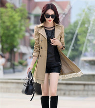 Load image into Gallery viewer, Hot Spring and Autumn Long Trench Coat for Women Lace Fashion British Style Windbreaker  Coats 9 Color U.S Size:XXS-XL