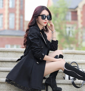 Hot Spring and Autumn Long Trench Coat for Women Lace Fashion British Style Windbreaker  Coats 9 Color U.S Size:XXS-XL
