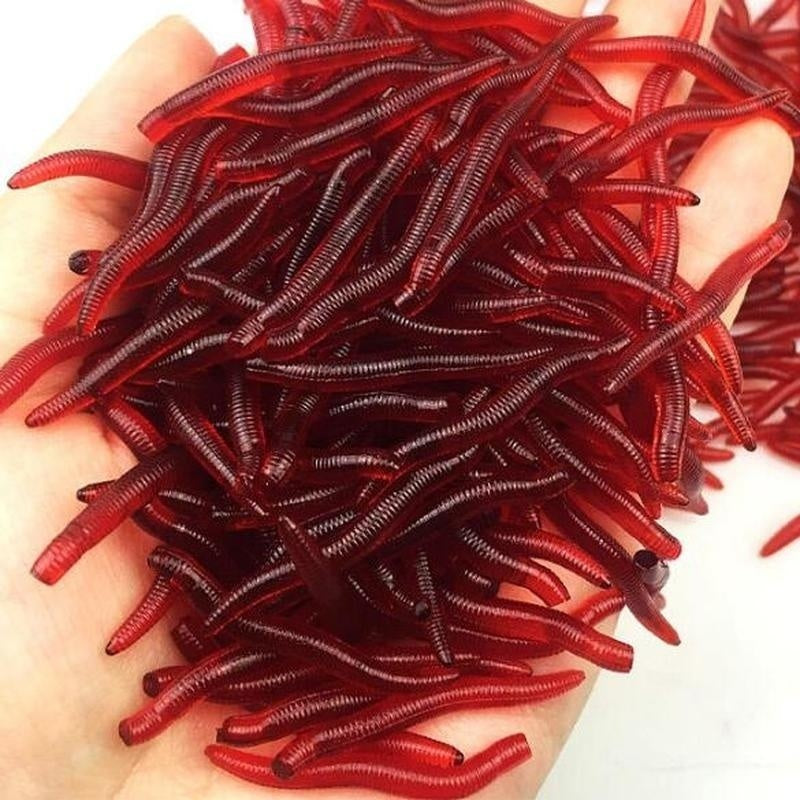 150Pcs/Box Soft Lure Fishing Simulation Earthworm Red Worms Artificial Fishing Lure Tackle Lifelike Fishy Smell Lures