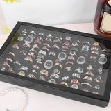 36/100 Grids Ring Display Box Jewelry Tray Case Portable Jewelry Ring Carrying Tray Holder Cufflinks   Storage Box Organizer