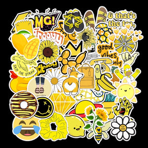 50 PCS Cartoon Yellow Graffiti Stickers For Chidren Toy Waterproof Sticker to DIY Suitcase Laptop Bicycle Helmet Car Decals