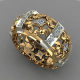 New Dual-color 18k Yellow Gold White Sapphire Natural Stone  Hollow Pattern Color Separation Ring Size 5-10