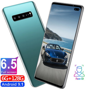 New 6.5 Inch S10 Smartphone Face/Fingerprint Unlock 6GB+128GB Android Octa Core Dual SIM Cards Support T Card Dual Rear 8MP+16MP HD Camera Bluetooth GPS Navigation Hi-fi Sound Quality 4G Smart Phones