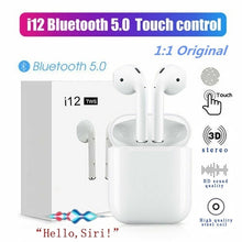Load image into Gallery viewer, Mini i12 TWS Bluetooth 5.0 Earphone Wireless Smart Touch Control Earbuds Headset Headphone with HIFI Sound Quality Built-in Mic