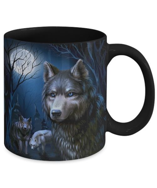 Details about   Wolves At Night Unique Illustration - Wolf Coffee Mug 11Oz