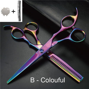 4 Pcs / 6 Inch Professional Hair Scissors Set,Stainless Steel Thinning Scissors and Cutting Shears with Comb,Regulator