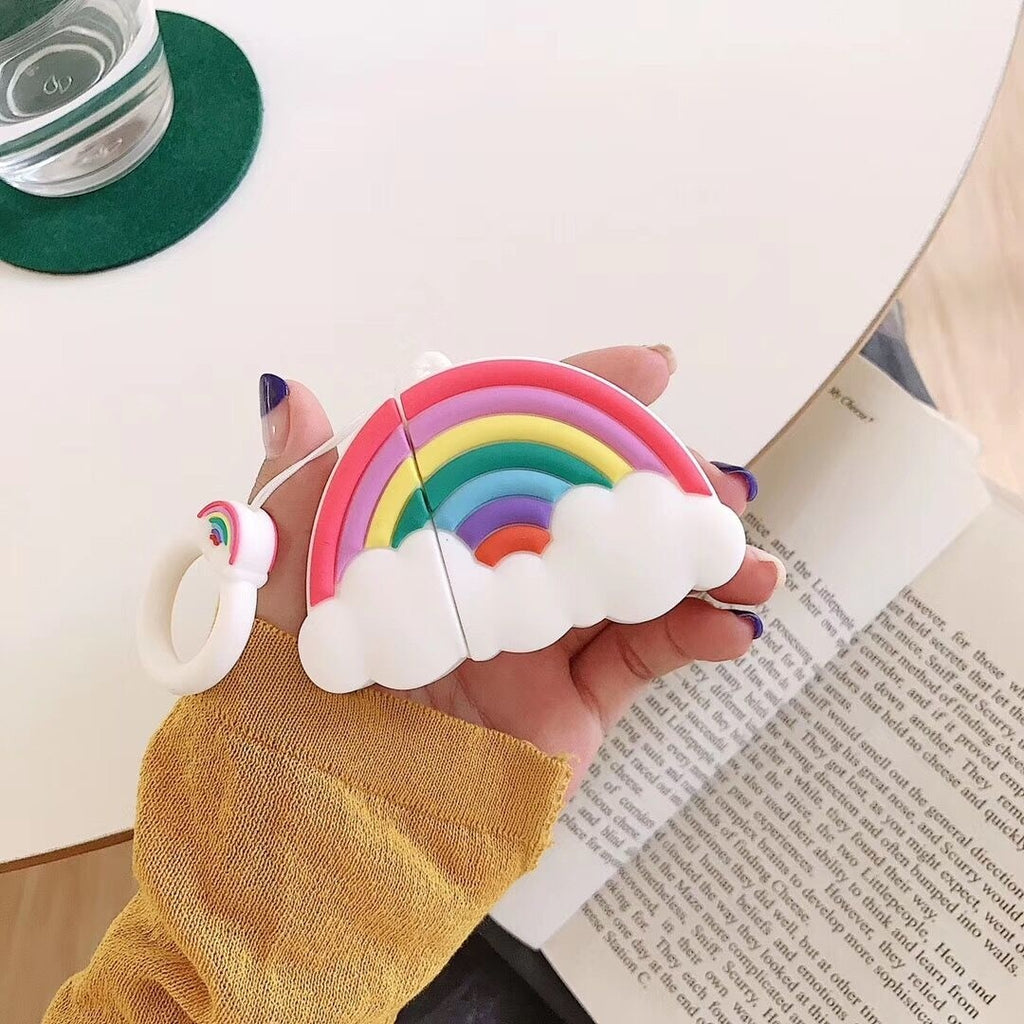 Cute Colorful Soft Silicone Rainbow Shape Shockproof Case With Anti-lost Hook For Airpods Wireless Earphone