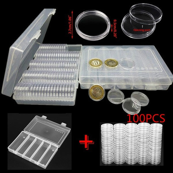 100 Pieces 30mm Coin Storage Box Round Boxed Coin Holder Case with Storage Organizer Box for Coin Collection Supplies