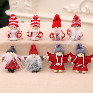 2Pcs/Set New Christmas Miniatures Santa Claus Snowmen Pendant Christmas Doll Pendant Xmas Tree Ornaments Mall Hotel Window Decor