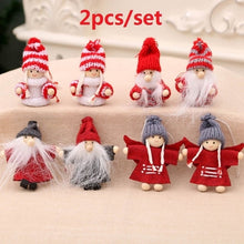 Load image into Gallery viewer, 2Pcs/Set New Christmas Miniatures Santa Claus Snowmen Pendant Christmas Doll Pendant Xmas Tree Ornaments Mall Hotel Window Decor