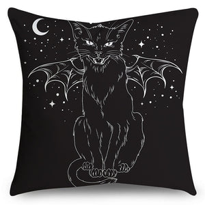 Halloween Party Cat(Double-Sided Printing)Pillow Cover Microfiber Soft Cushion Cover Sofa Pillow Case 18' x 18' (45 cm x 45 cm)