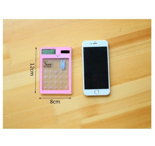 Creative Ultra Thin Transparent Solar Calculator Cute Student Multifunction Calculator