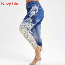 Load image into Gallery viewer, 2019 Women Ladies Fashion Capri Leggings Printed Plus Size Lace Panel Leggings