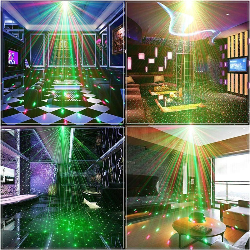 Disco DJ Party Stage Lights RGBW Laser Projector Stage Lighting with Remote Control Sound Activated