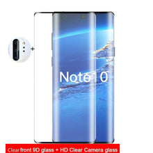 Load image into Gallery viewer, 9D Full Cover Glass on Samsung Note 10 Case Note 10 Plus Note 9 Note 8 S10 S10 E S10 Plus A90 A80 A70 A50 Screen Protector Tempered Glass +Back Camera Lens Film