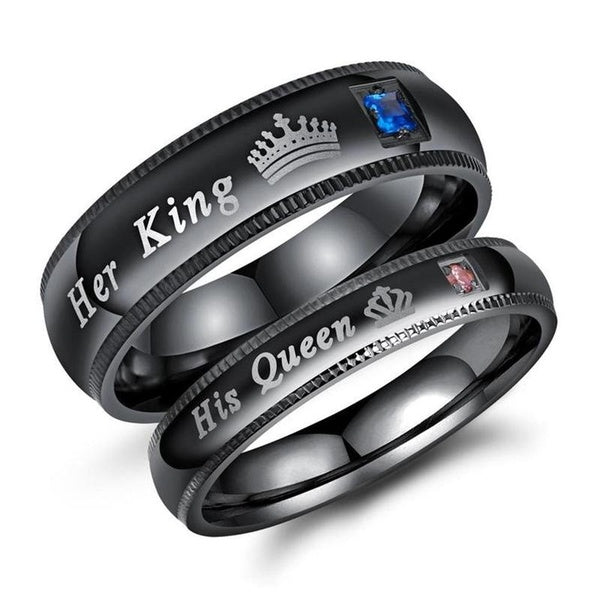 His Queen or Her King Couple's Matching Promise Ring Comfort Fit Wedding Gift