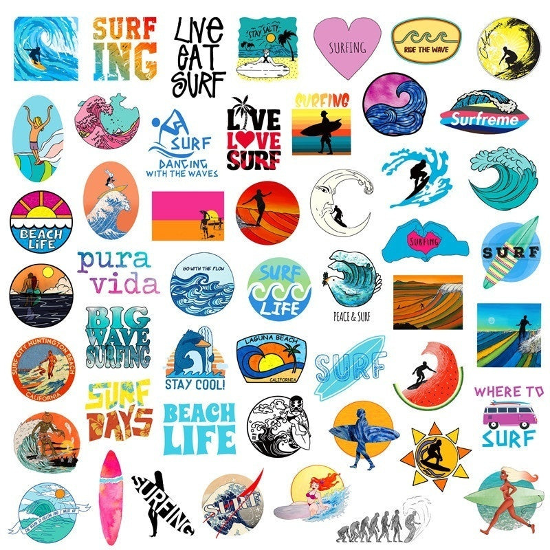 25/50Pcs Pack Summer Surf Beach Hot Sale Surfing Stickers Trolley Case Skateboard Notebook Doodle Sticker Hand Account Sticker