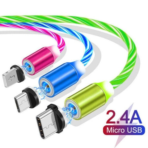 2019 3 in1 Magnetic Absorbing Stream Data Cable Strong Magnetic Force Double-headed Aluminum Housing Fast Charging USB Connect