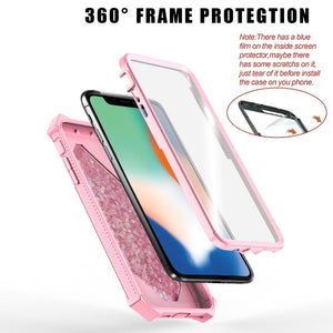 360 Full 3in1 Protective Quicksand 3D Glitter Bling Sparkle Flowing Liquid Transparent Hybrid Built-in Screen Protector Shockproof Bumper Case Cover for  IPhone X/ Xs/ Xr/ Xs Max/ 8/ 7/ 6/ 6s Plus