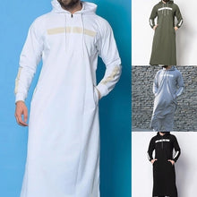 Load image into Gallery viewer, Men Fashion Autumn Long Sleeve Floor Length Sweater Tshirt Hooded Casual Muslim Abaya Islamic Clothing Hoodies and Sweatshirt Plus Size