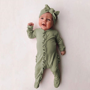 Newborn Baby Rompers Girl Boy Cute Casual Sleepwear Long Sleeve Jumpsuit Infant Romper with Hairband