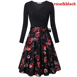Women Casual V Neck Long Sleeve Pleated Dress Printed Tunic Slim Fit Lace Up Floral Printed Dresses