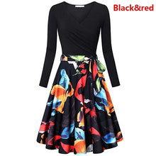 Load image into Gallery viewer, Women Casual V Neck Long Sleeve Pleated Dress Printed Tunic Slim Fit Lace Up Floral Printed Dresses