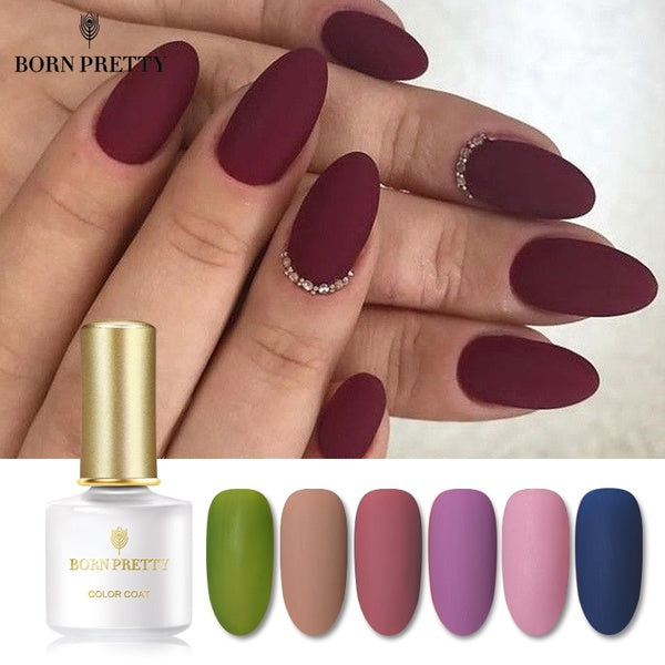 BORN PRETTY Red Gray Gel Nail Polish Soak Off UV Color Gel Autumn Series Matte Dull Nail Art (Matte Top Coat Needed)