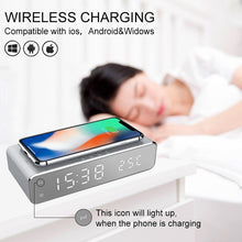 Load image into Gallery viewer, 2019 LED electric alarm clock with phone charger wireless desktop digital thermometer clock HD clock mirror with time memory