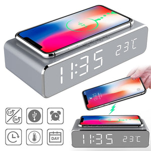2019 LED electric alarm clock with phone charger wireless desktop digital thermometer clock HD clock mirror with time memory