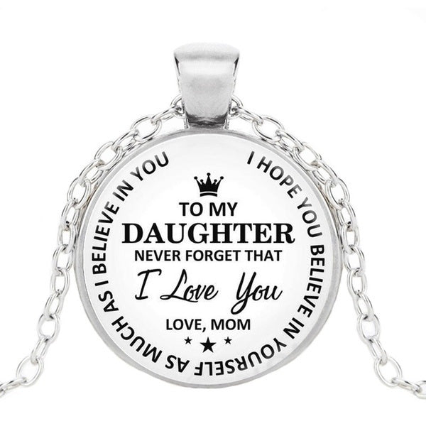 Fashion Kids Necklace To My Son To My Daughter Love Mom Dad Classics Prince Princess Crown Pendant Time Gemstone Necklace Birthday Christmas Gift  for Boys Girls