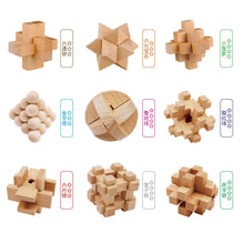 Load image into Gallery viewer, 9Pcs/set Chinese Kong Ming Lock Puzzle Toys Lock Set for Children Development and Education