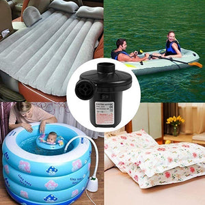 EU/US/UK/car Lighter Plug Portable Air Inflator Electric Air Pump Air Bed Inflator Swim Ring Fast Filling Air Pump ( with 3 Nozzles )