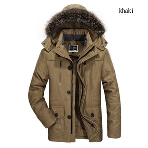 2019 New Men's Large Size Long Coat Winter Plus Velvet Thick Down Jacket Fur Collar Windbreaker Outdoor Snow Clothes Casual Warm Coat