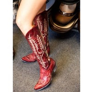 Vintage Women Knee High Boots Leather Riding Boots Medieval Western Cowgirl Boots Tall Boots Autumn Winter Warm Pointed Toe Flat Boots Ladies Ankle Boots