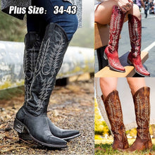 Load image into Gallery viewer, Vintage Women Knee High Boots Leather Riding Boots Medieval Western Cowgirl Boots Tall Boots Autumn Winter Warm Pointed Toe Flat Boots Ladies Ankle Boots