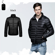 Load image into Gallery viewer, Men's Winter Ultra Light Down Jacket Warm Stand Collar Plus Size Down Coat Hooded Jackets For Men 6 Colors