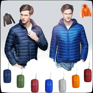 Men's Winter Ultra Light Down Jacket Warm Stand Collar Plus Size Down Coat Hooded Jackets For Men 6 Colors