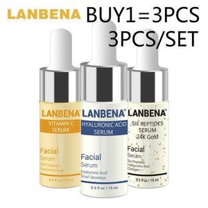 LANBENA Vitamin C Serum+Hyaluronic Acid Serum+Six Peptides Serum 24K Gold Anti-Aging Moisturizing Skin Care Whitening Brighten