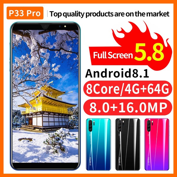 P33 Android High Quality 4G+64G 4G Mobile Phone Smartphone Fingerprint Unlock Cellphone HD Camera Bluetooth GPS 3G WCDMA 4G Smart Phones